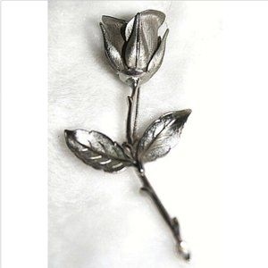 Vintage Fashion Brooch Pin Rose Stem Silver Toned